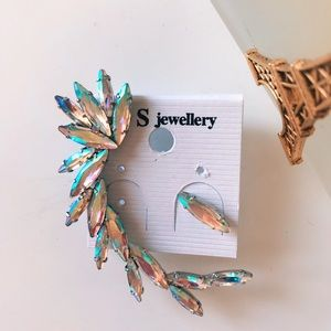 Jewelry - Crystal Clip-On Feather Ear Cuff+Stud Earring (A)